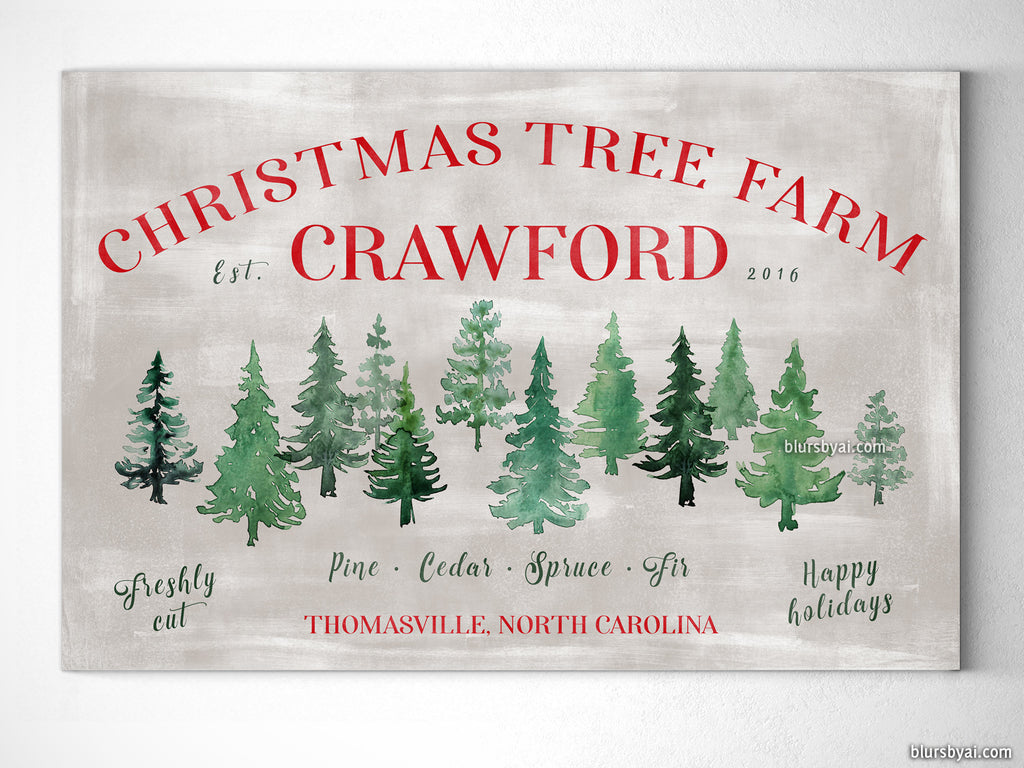 "Custom family name canvas print, ""Christmas tree farm"" in rustic chic style"