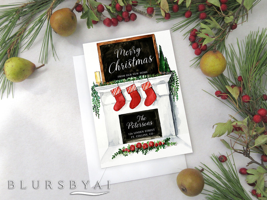 Personalized printable Christmas card: new home announcement with fireplace - Edit with Corjl