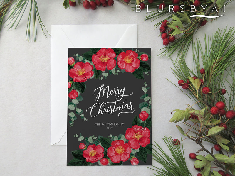 Personalized printable Christmas card: yuletide camellias illustration - Edit with Corjl