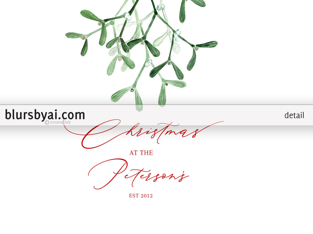 "Personalized PRINTABLE holiday decor, ""Mistletoe"" - Edit with Corjl"