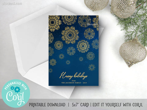 Personalized printable Christmas card: gold snowflakes in the night sky - Edit with Corjl