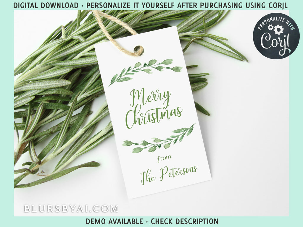 "Personalized printable holiday gift tags: ""Greenery branch"" - Editable with Corjl"
