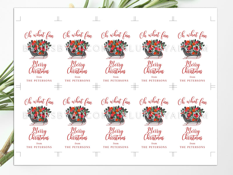 "Personalized printable holiday gift tags: ""Oh what fun"" - Editable with Corjl"