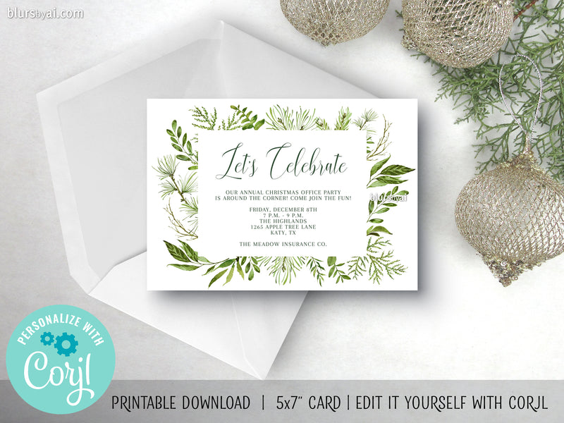 Editable printable holiday party invitation: watercolor greenery box - Edit with Corjl
