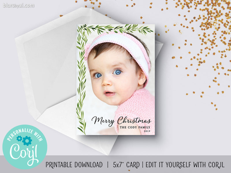 Personalized printable Christmas photo card: watercolor greenery corner garland - Edit with Corjl