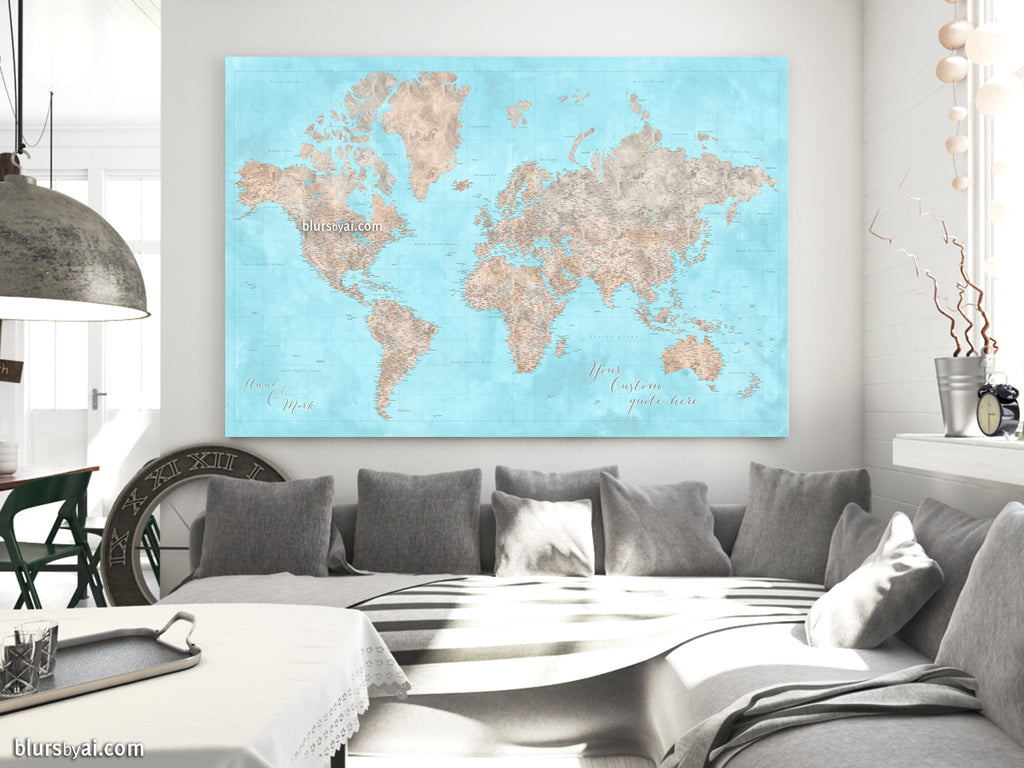 "Custom large & highly detailed world map canvas print or push pin map in light blue and brown. ""Henry"""
