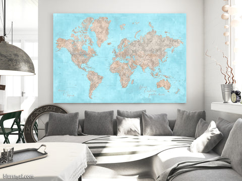 "Personalized large & highly detailed world map canvas print or push pin map in light blue and brown. ""Henry"""