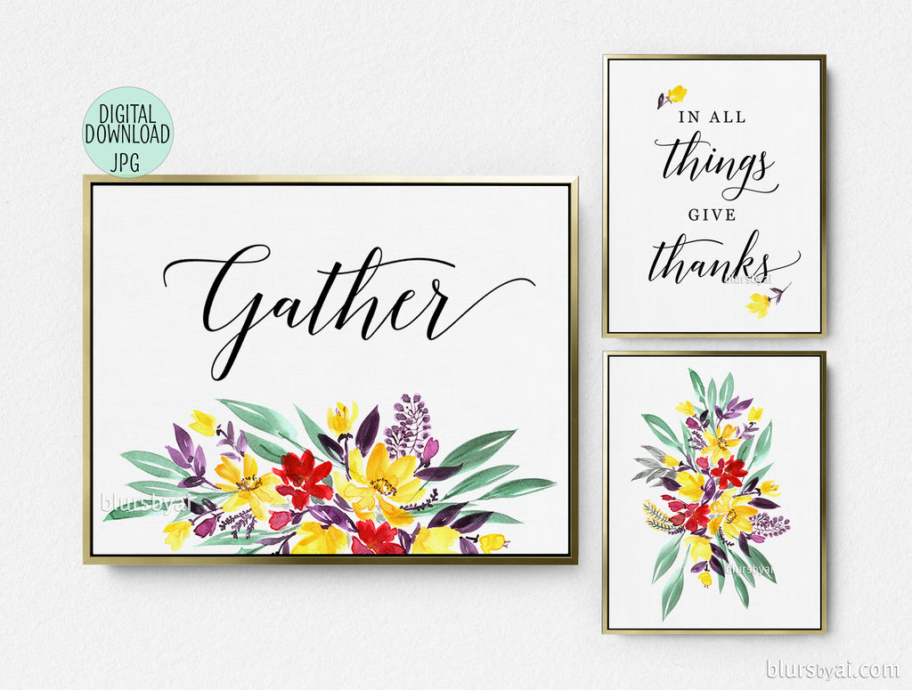 Printable Thanksgiving decoration: floral gather signs, set of three - Personal use