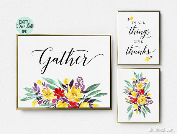 Printable Thanksgiving decoration: floral gather signs, set of three