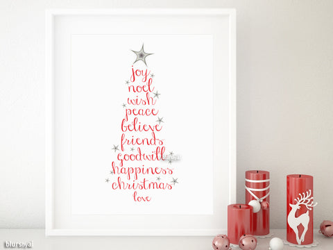 Printable holiday decor: Christmas tree of words