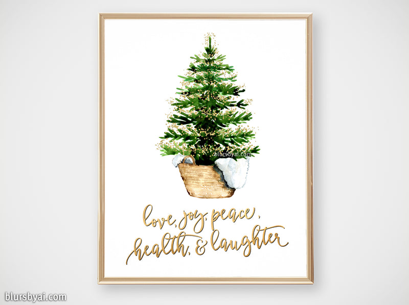 Printable holiday decor: Christmas tree in a basket with best wishes - Personal use