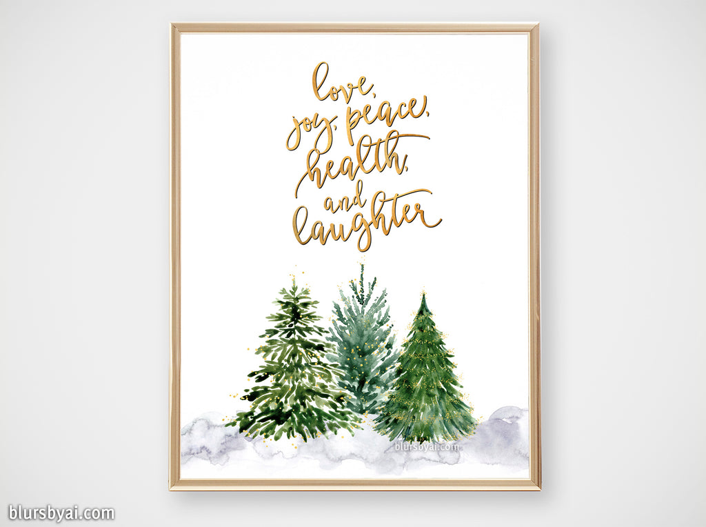Printable holiday decor: Christmas trees with best wishes - Personal use