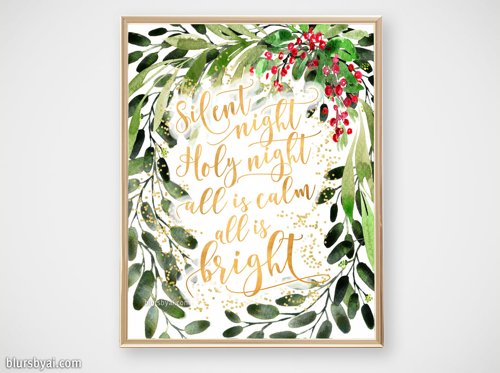 Printable holiday decor: Watercolor Christmas greenery, Silent night - Personal use