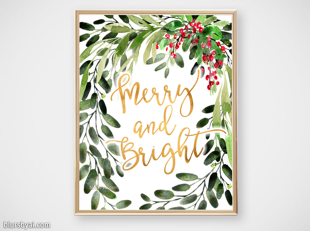 Printable holiday decor: Watercolor Christmas greenery, merry and bright - Personal use