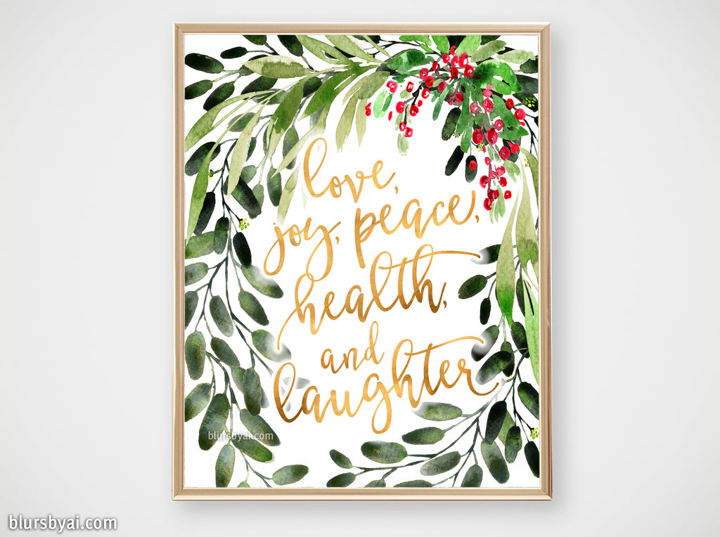 Printable holiday decor: Watercolor Christmas greenery with best wishes - Personal use
