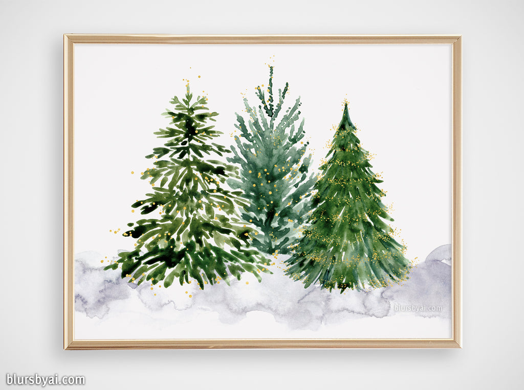 Printable holiday decor: Watercolor Christmas trees illustration, gold accented - Personal use