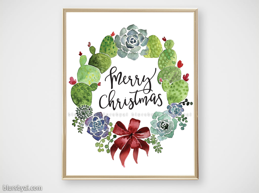 "Printable holiday decor: Watercolor cacti wreath, ""Merry Christmas"" - Personal use"
