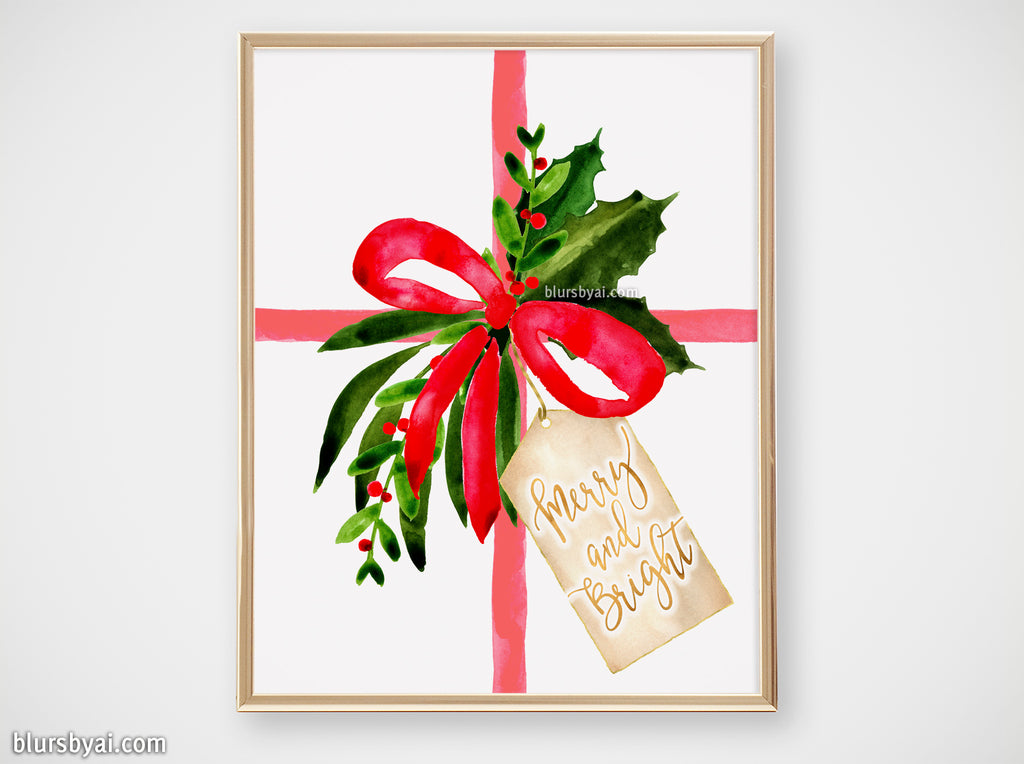 Printable holiday decor: Watercolor gift with Merry and Bright tag - Personal use