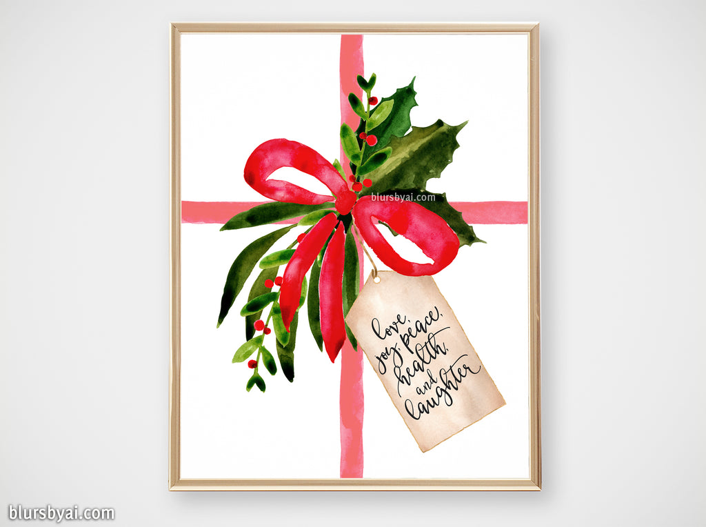 Printable holiday decor: Watercolor gift with best wishes - Personal use
