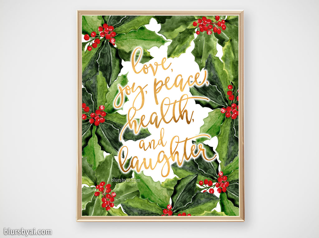 Printable holiday decor: Watercolor holly floral art with best wishes- Personal use