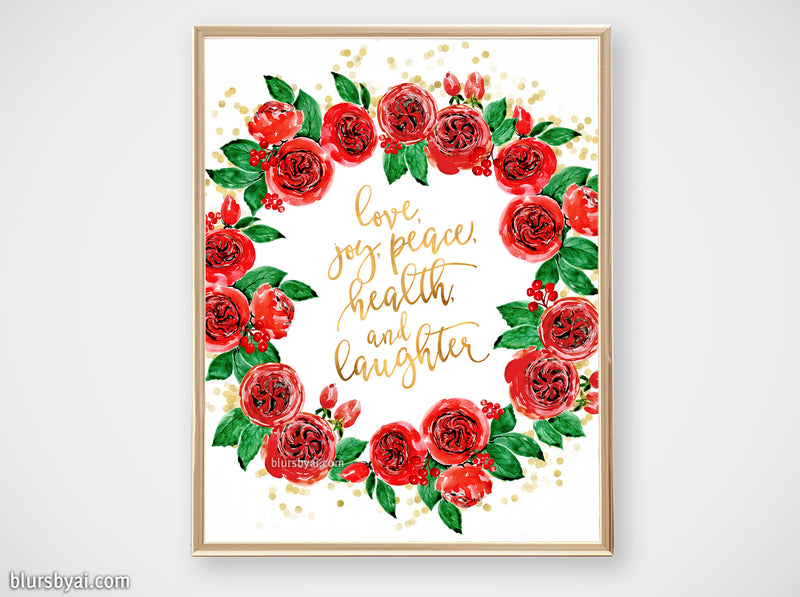 Printable holiday decor: Watercolor red roses Christmas wreath - Personal use