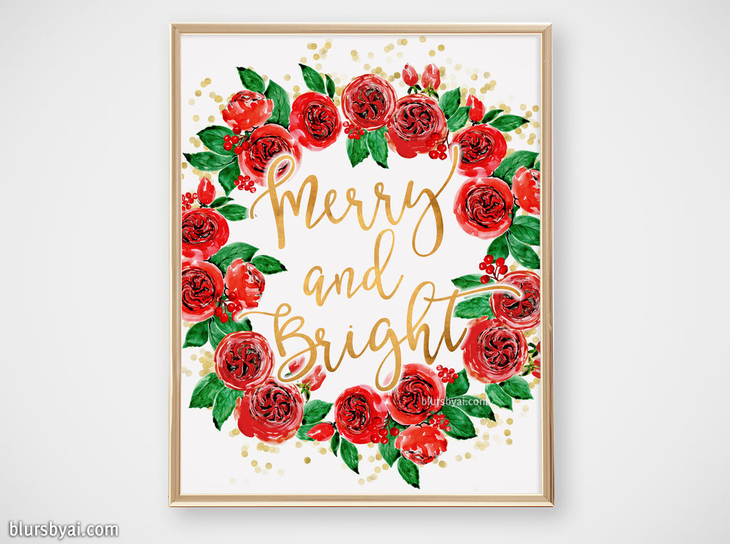 Printable holiday decor: Watercolor red roses Christmas wreath, Merry and Bright - Personal use