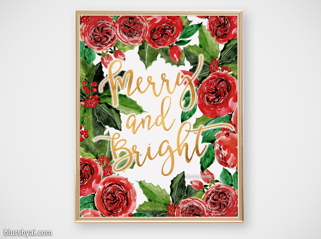Printable holiday decor: Watercolor red roses and holly floral art, Merry and Bright - Personal use