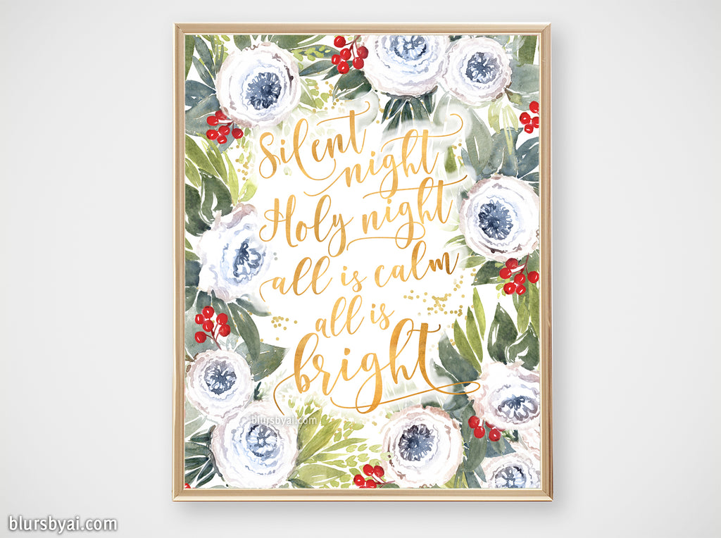 Printable holiday decor: Watercolor roses & berries floral art, Silent night - Personal use