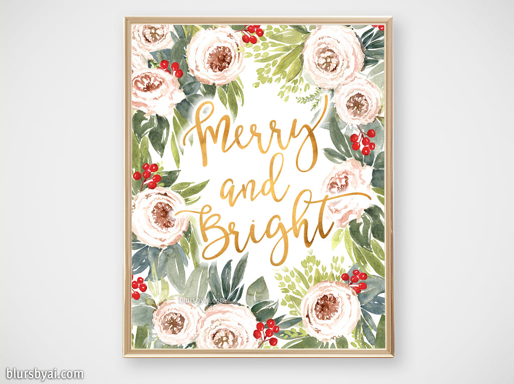 Printable holiday decor: Watercolor roses & berries floral art, merry and bright - Personal use