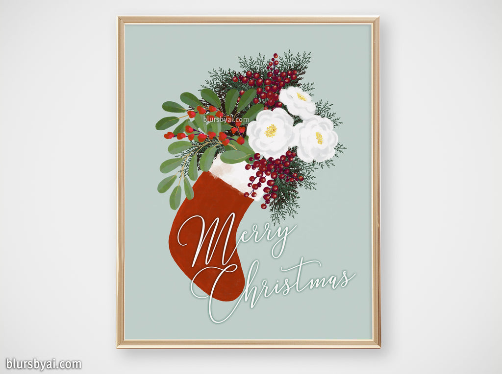 "Printable holiday decor: floral Christmas stocking in mint, ""Merry Christmas"" - Personal use"