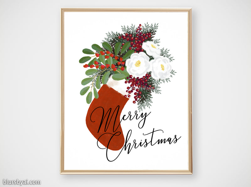 "Printable holiday decor: floral Christmas stocking in white, ""Merry Christmas"" - Personal use"