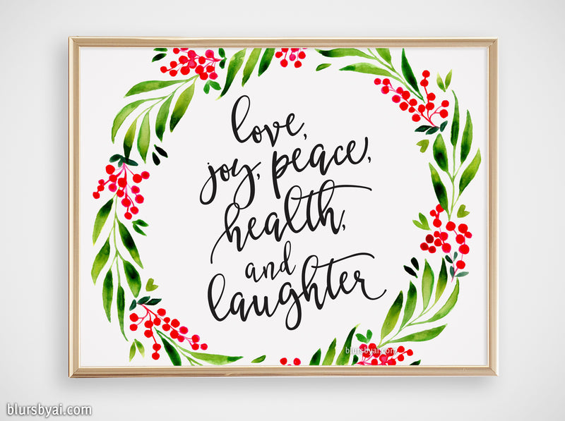Printable holiday decor: watercolor wreath with best wishes - Personal use