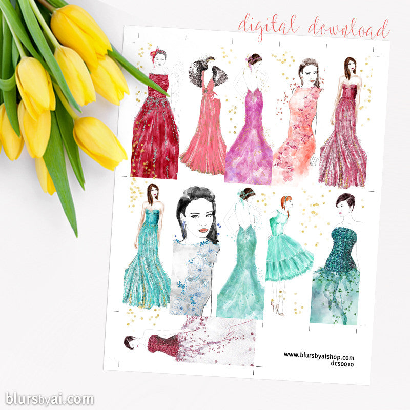 Fashion illustration printable planner stickers