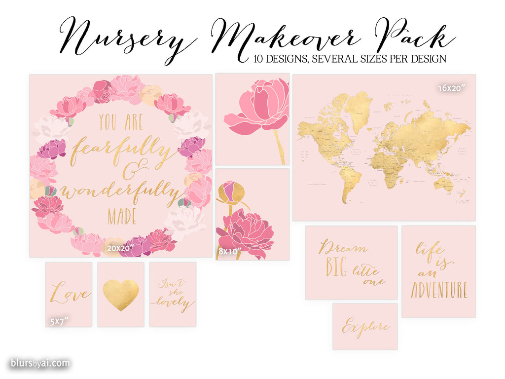 10 designs - Nursery makeover pack, digital download, pink blush and gold foil, gold map with states, floral art, inspirational quotes... - Personal use
