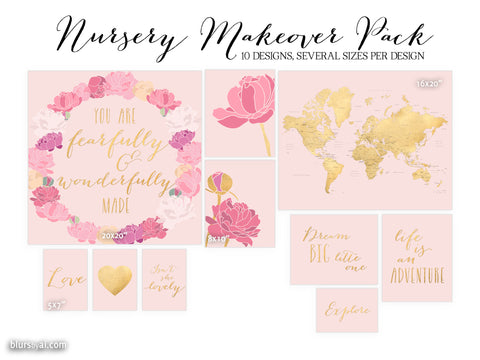 10 designs - Nursery makeover pack, digital download, pink blush and gold foil, gold map with states, floral art, inspirational quotes...