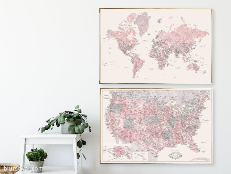 "Set of two map prints on paper: USA and the world in matching style. ""Madelia"""