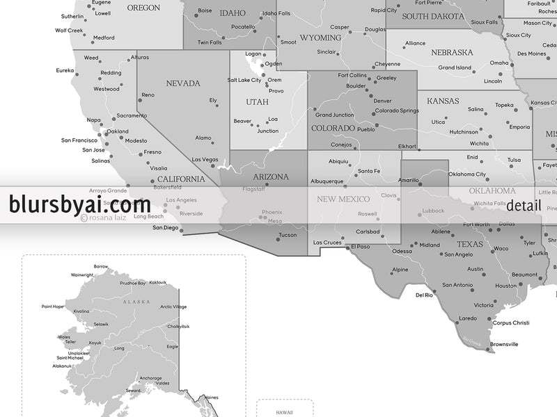 "Printable matching world map and US map with cities in grayscale, 36x24"" - For personal use only"