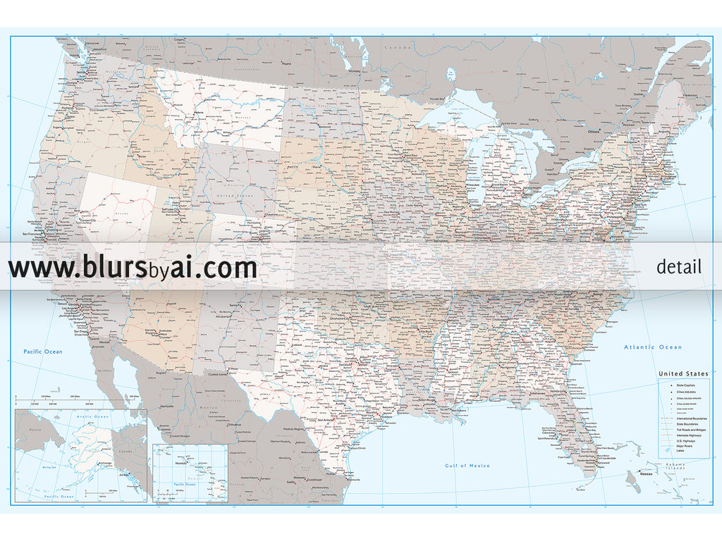 Custom Us Map Print Highly Detailed Map Of The Us With Roads - Detailed-map-of-us