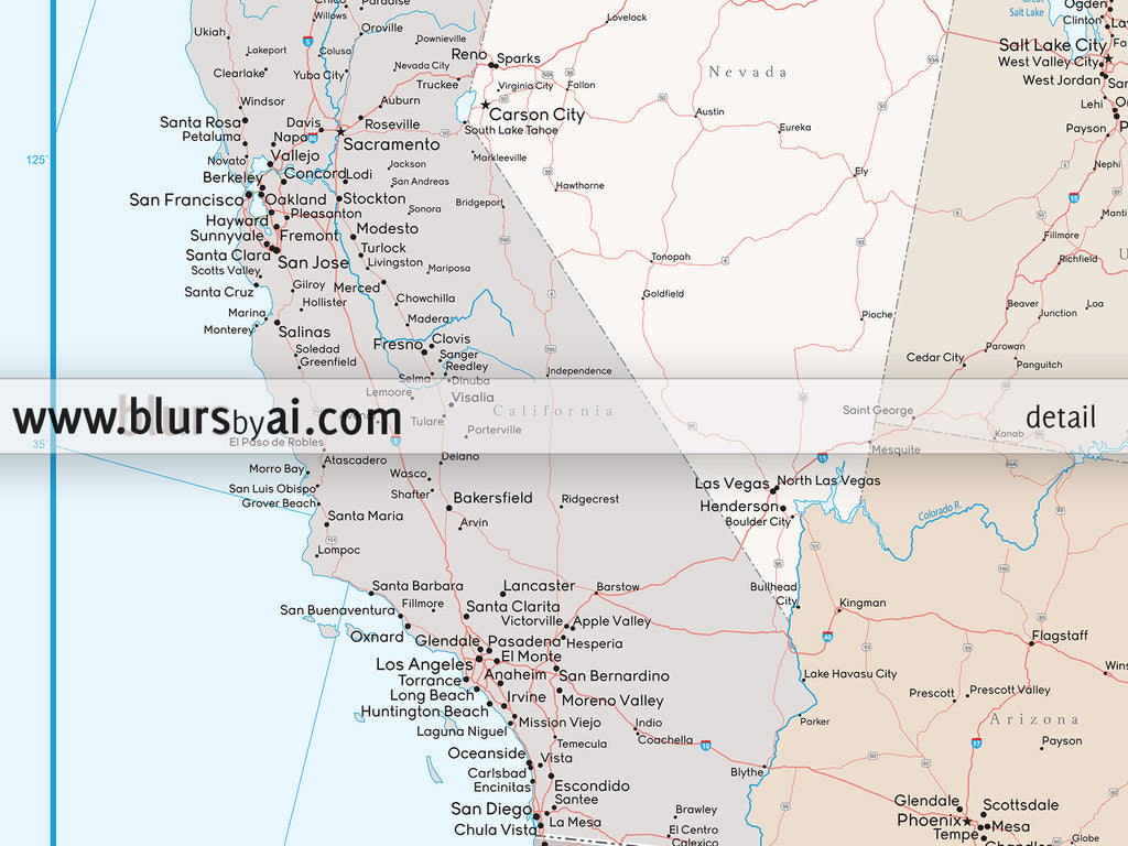 Custom Us Map Print Highly Detailed Map Of The Us With Roads - Print-us-map