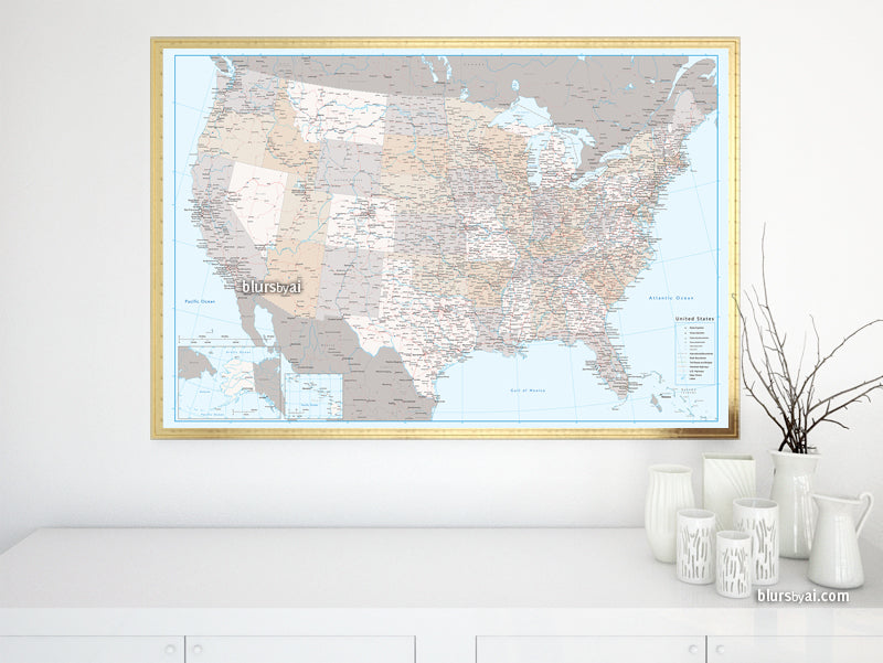 "Custom US map print: highly detailed map of the US with roads. ""Keane"""