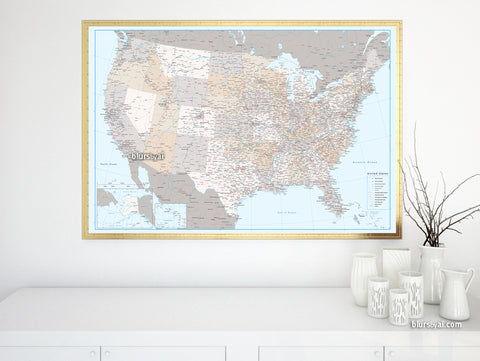 "Personalized US map print: highly detailed map of the US with roads. ""Keane"""