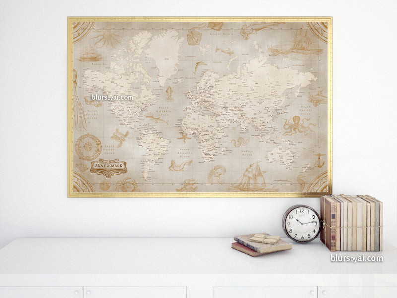 Custom names - Printable world map with cities in vintage style featuring sea monsters and sail ships