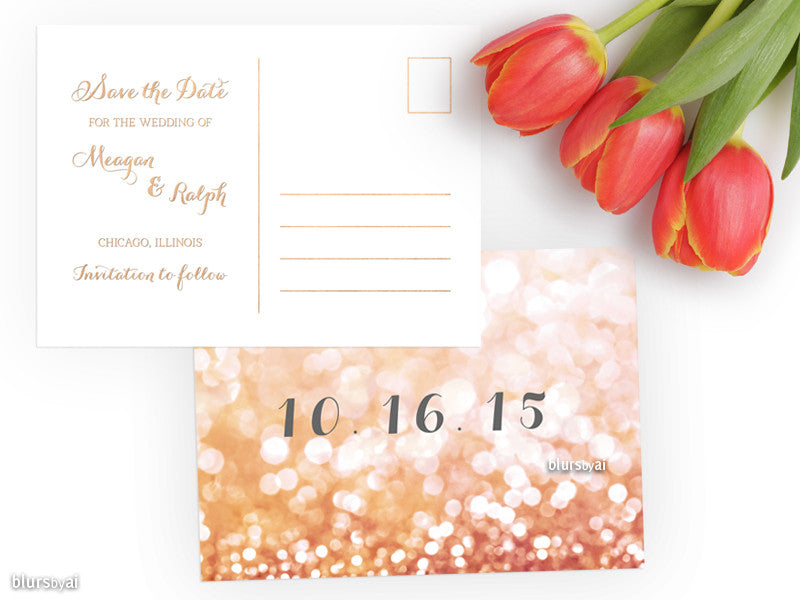 Custom printable save the date postcard in gold glitter or rose gold glitter