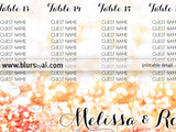 Custom printable seating chart in sparkly background - Any color