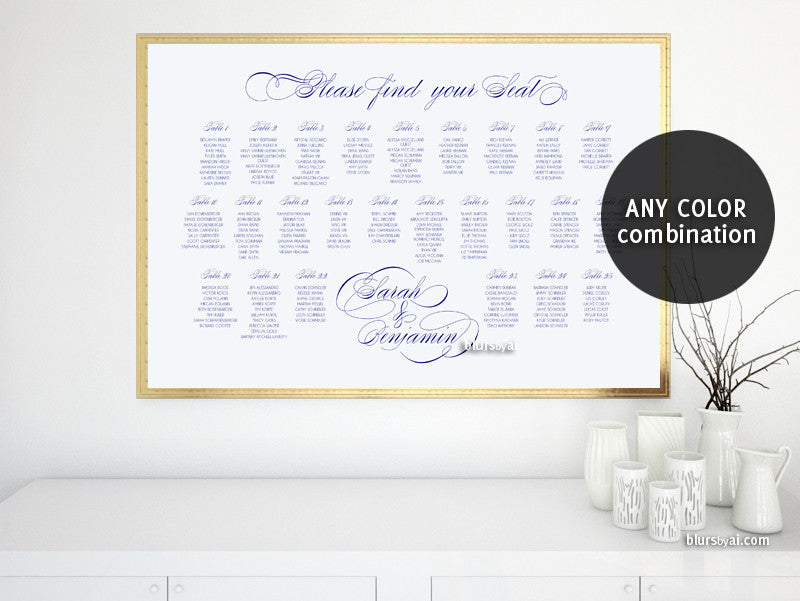Custom printable seating chart featuring calligraphy headings - Any color combination