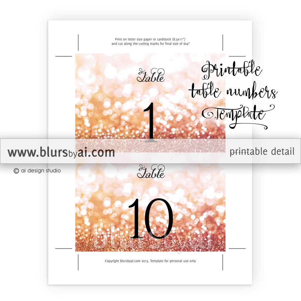 "6x4"" table numbers template in rose gold glitter, printable table numbers"