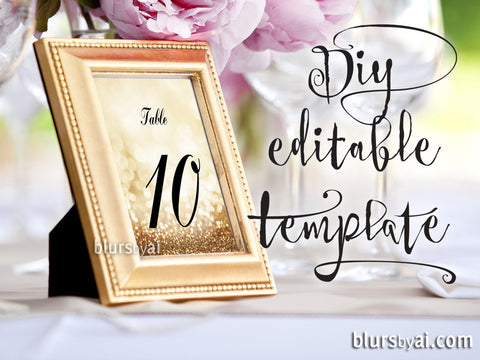 "5x7"" table numbers editable template for Word in gold glitter and calligraphy font, printable table numbers"
