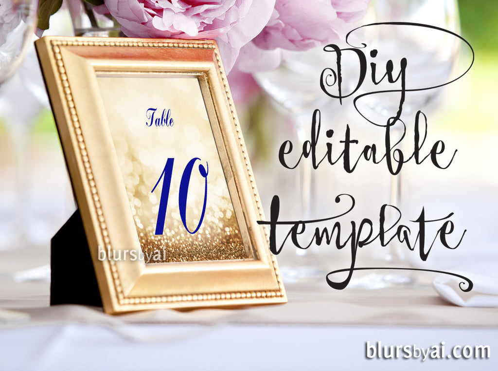 Admirable 5X7 Table Numbers Editable Template For Word In Gold And Navy Blue Calligraphy Font Printable Table Numbers Download Free Architecture Designs Rallybritishbridgeorg