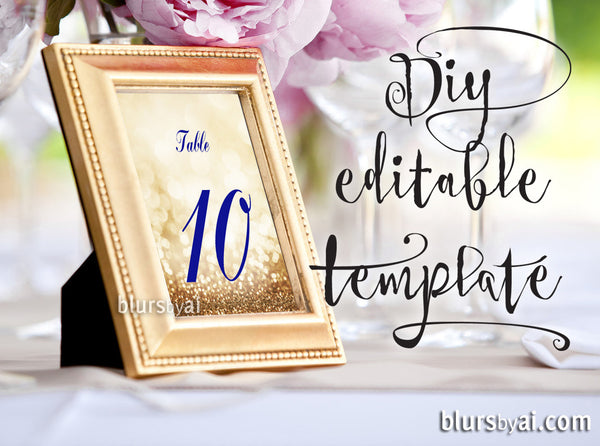 5x7 Quot Table Numbers Editable Template For Word In Gold And