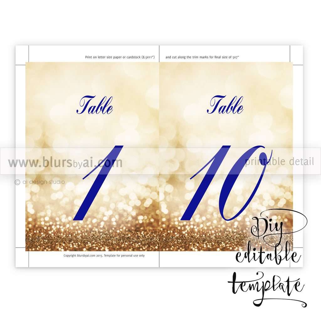 Gold color cardstock paper 5x7 -  5x7 Table Numbers Editable Template For Word In Gold And Navy Blue Calligraphy Font
